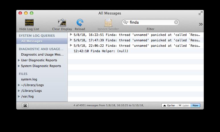 Logging Rust Errors on OS X
